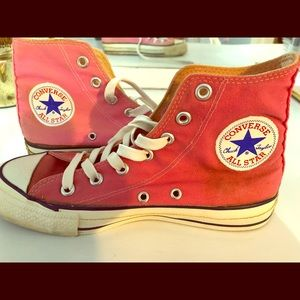 Women's pink high top converse